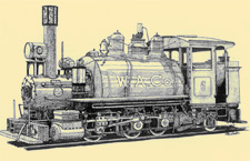 Detailed drawing of train engine W.A.Co. 6.